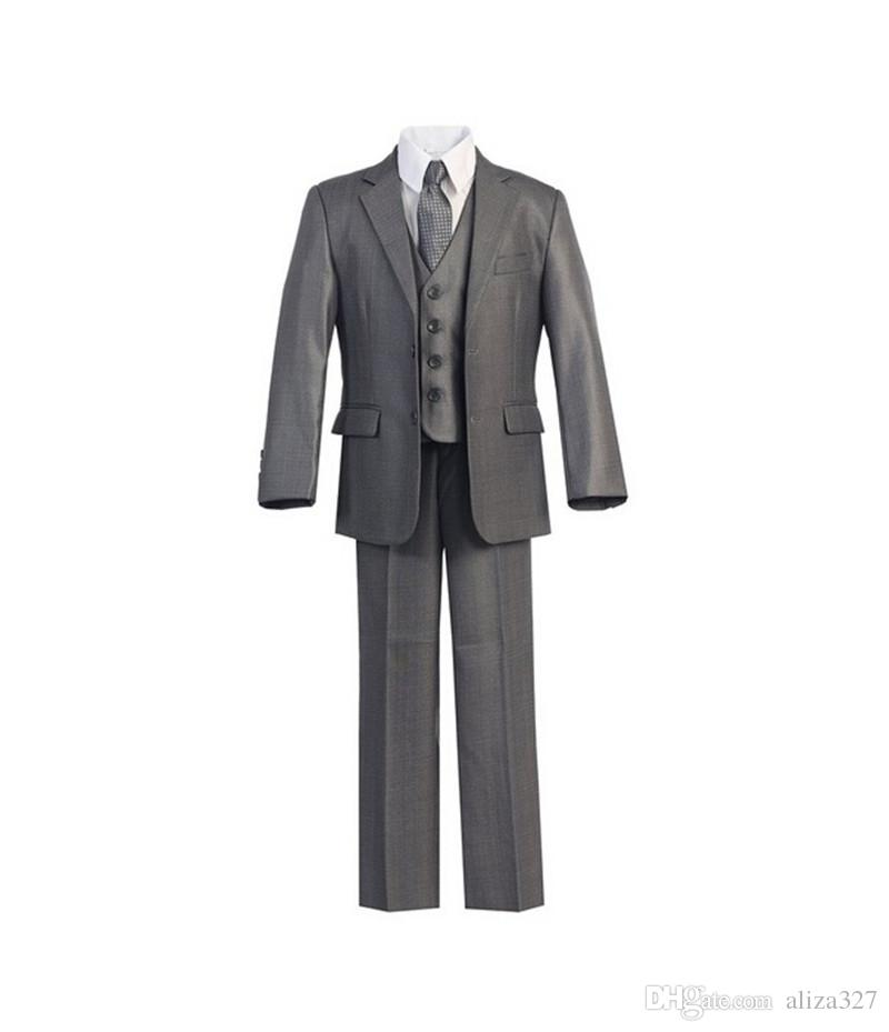 High qulity little boy suits formal occasion boys tuxedos fashion contracted pure color boys formal suits tuxedos (jacket+pants+vest)