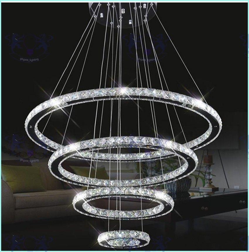 Moderne LED Kristall Kronleuchter Pendelleuchten Decke hängende Leuchten mit AC110-240V LED SMD runden Ring Diamant