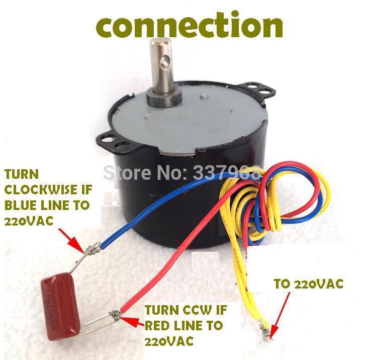 2PCS 50KTYZ 220V AC 6W 2.5 RPM / 5RPM / 10RPM / 15RPM / 30RPM / 180RPM Permanent Magnet Synchronous Gear Motor