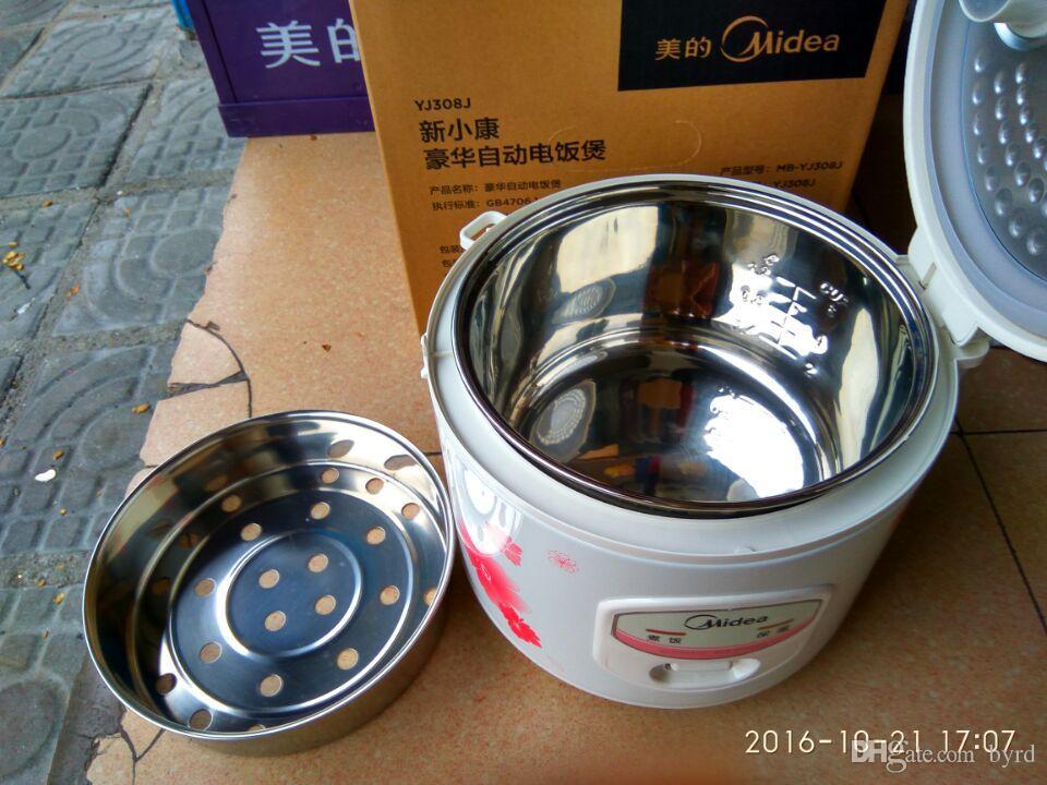 3L électrique cuiseur à riz YJ308j vapeur Buns poulet cuisson du poisson bouillie soupe ragoût + antiadhésif pot en acier inoxydable + panier vapeur + adaptateur