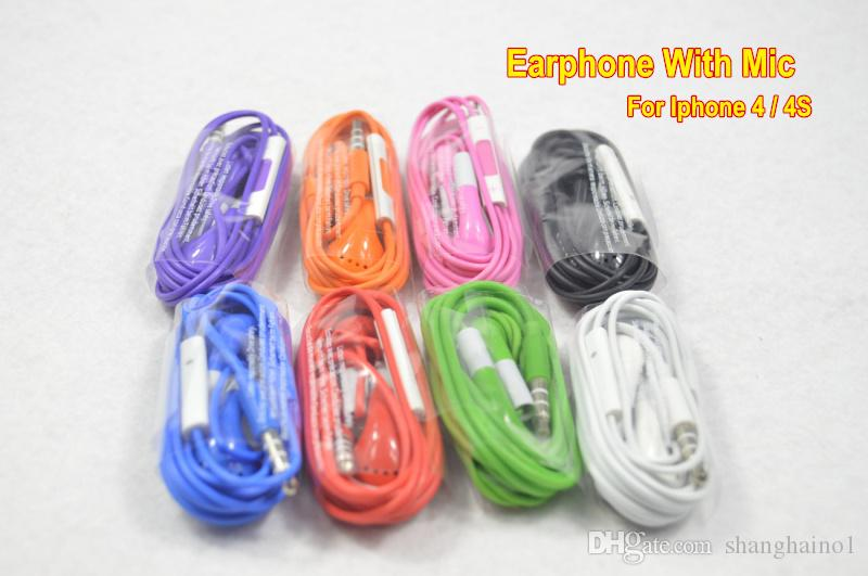 Earphone Headphone Headset 3.5mm with Mic Color Colorful Earphones for iphone 4 4s 3gs 5 5s Samsung S3 S4 S5 Note 3 HTC One y