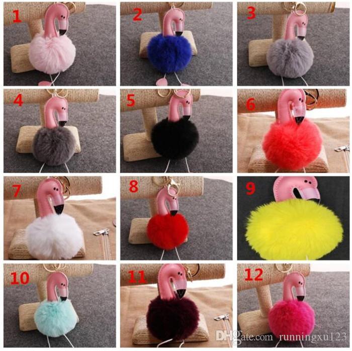 50 pz Cartoon Flamingo Keychain Fluffy Coniglio Artificiale Palla di Pelliccia Catena Chiave Auto Bag Portachiavi Ciondolo 14 Colori R064