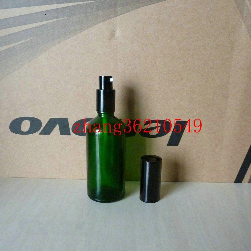 100ml 녹색 유리 로션 병 알루미늄 반짝 이는 검은 pump.for 로션과 에센셜 오일. 로션 크림 유리 용기