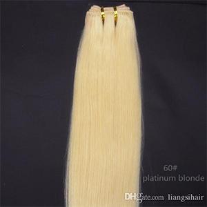 """Super pur Cheveux Weave humaine Vierge Indien Malaisie droit brésilien 100g cheveux Extensions 1pcs 20"""" Trame 60 # Platinum Blonde"""