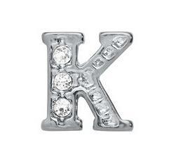 """20 قطعة / الوحدة حجر الراين الفضة الاحرف """"k"""" سحر صالح للزجاج المعيشة العائمة المدلاة المجوهرات قلادة هدية للأصدقاء"""