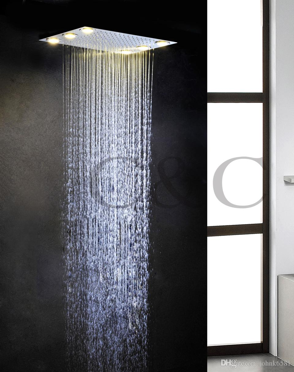 New Arrival!!! Alternating Current 6 PCS LED Yellow Lamps Rainfall Bathroom Shower Head L-50X36L