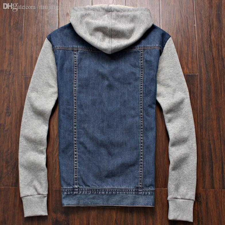 All'ingrosso-Mens invernali Jeans Outwear Plus Size cappuccio Jean rivestimento di modo casuale outwear l xl XXXL xxxxxl