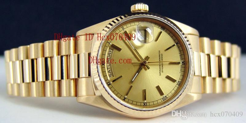 오리지널 박스 페이퍼 Mens 18k 골드 프레지던트 샴페인 자동 고급 남성 시계 손목 시계 남성용 시계