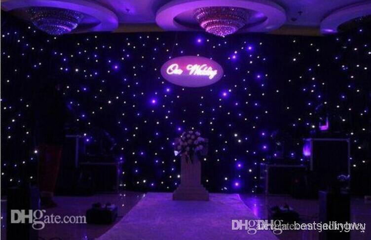 Блестящий сине-белый цвет светодиодная звезда занавес свадебная сцена фон ткань с контроллером освещения для свадебных украшений поставок