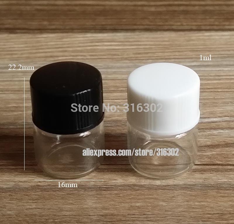 50 x 1 ml Muestra transparente transparente Viales Viales Pequeñas botellas de aceite esencial con tapas negras blancas