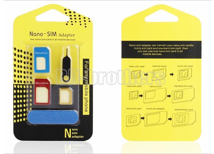 Caixa de embalagem amarela 5 em 1 adaptador de cartão de metal sim nano adaptador micro com lixa para iphone 4 5 6 1000 conjuntos / lote