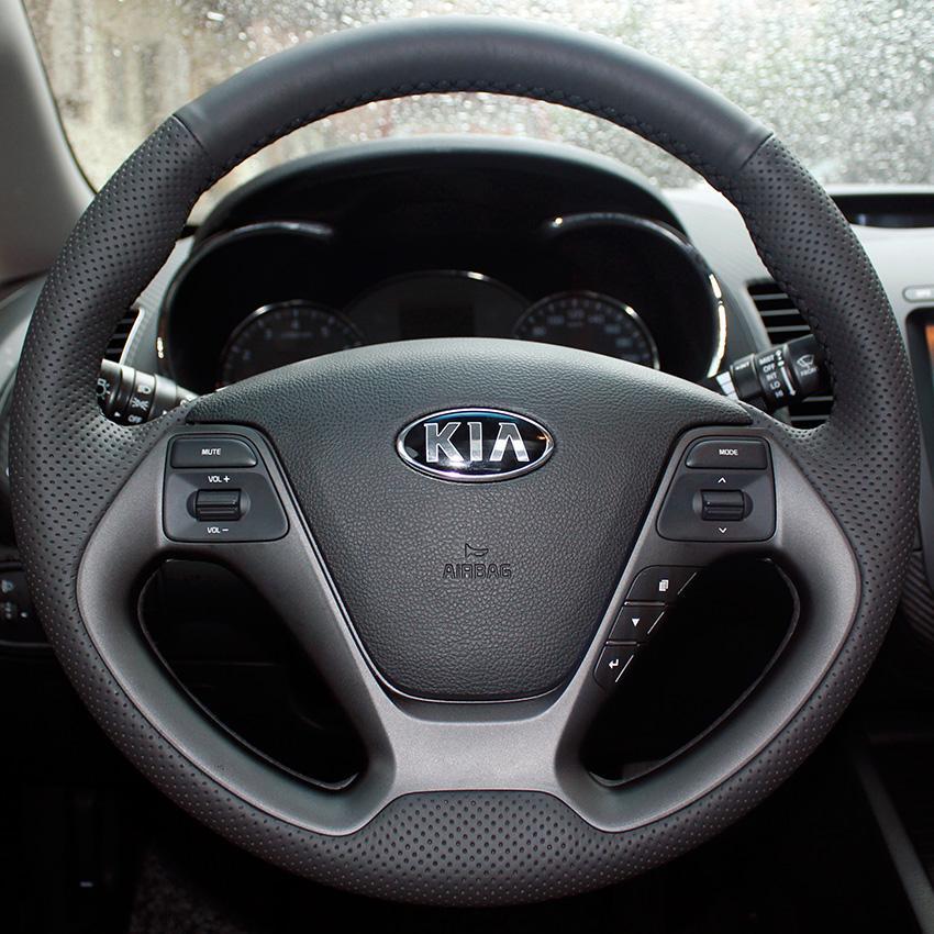 حالة ل KIA K3 تغطية عجلة القيادة جلد طبيعي DIY اليد غرزة سيارة التصميم الديكور الداخلي اكسسوارات السيارات الجلود يغطي