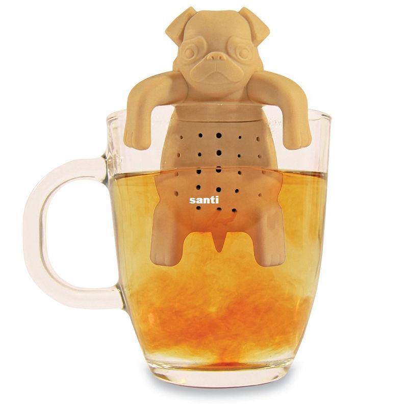 Lovely Tea Strainers Pug In una tazza di tè in silicone infusore Kawai Portable Dog Tea Strainers