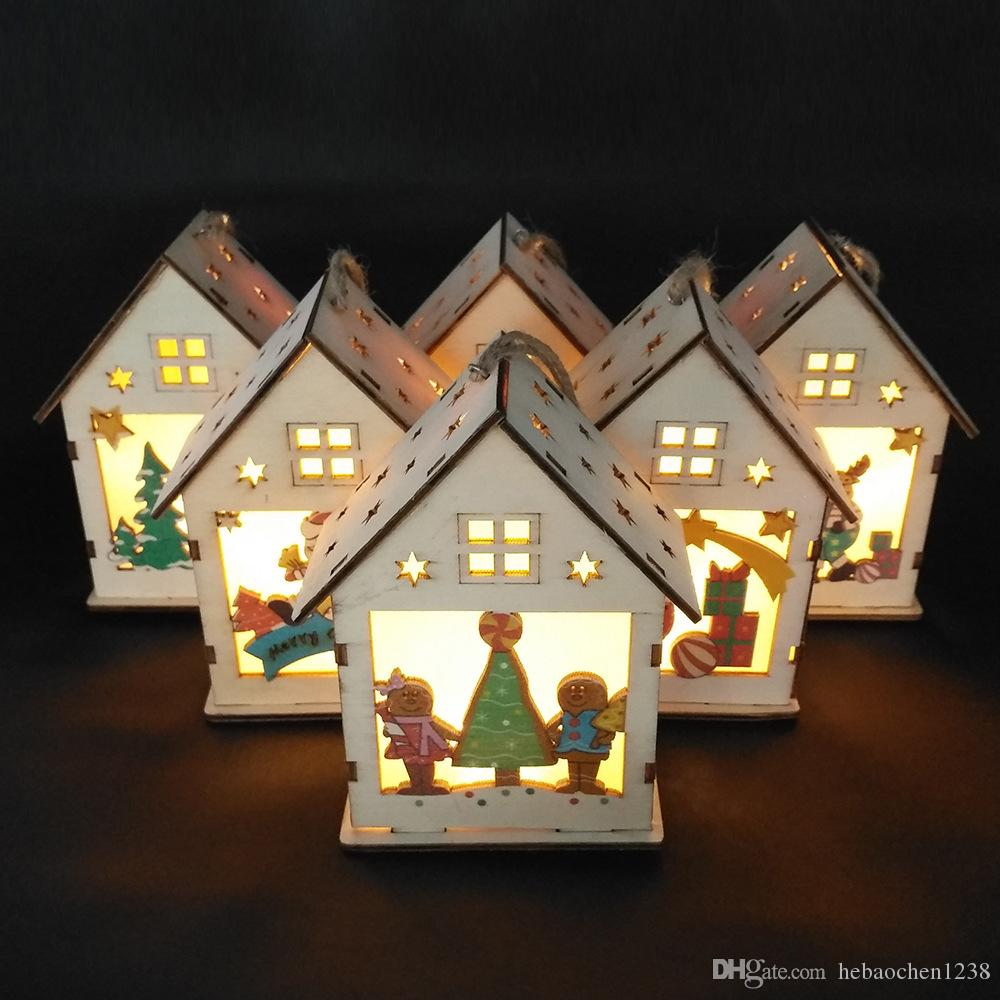 Christmas Lantern.2019 Wooden Christmas Lantern With The Light Of A Large Size House Decorated With Colorful Cartoon Elk Snowman Home Decoration Lamp Wholesale From