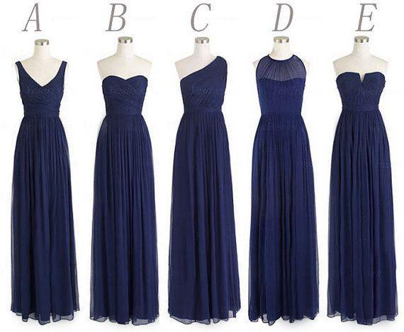 Navy Blue Bridesmaid Dresses Long