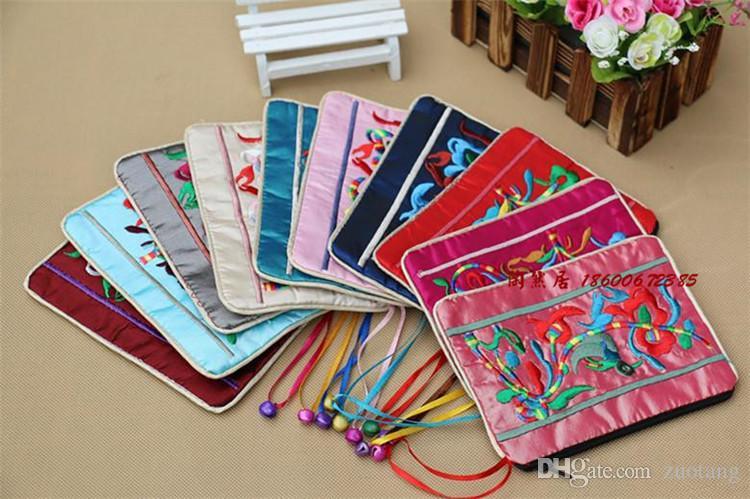 독특한 작은 벨 지퍼 보석 선물 가방 수 놓은 중국 스타일의 재사용 실크 포장 파우치 여성 동전 지갑 가방 50PCS / 많은