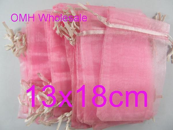 OMH wholesale 13x18cm 100pcs pink color Jewelry festival wedding Christmas voile organza Packaging gift bags BZ09-5