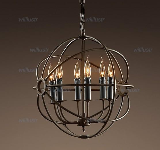 Industrial Lighting Vintage Pendant Lamp FOUCAULT ORB CHANDELIER RUSTIC IRON Gyro Loft hotel cafe bar restaurant suspension light 50cm 65cm