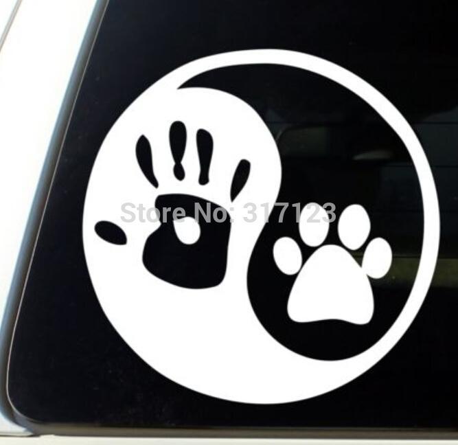 Autocollant de décalque de fenêtre en vinyle pour la main de chien avec la main d'un chien et son côté ensoleillé