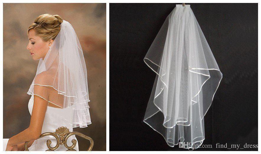 Tani! Długość łokcia Krótki Tulle Weils Biała Ivory 2 Warstwy Ribbon Edge Bridal do akcesoriów ślubnych