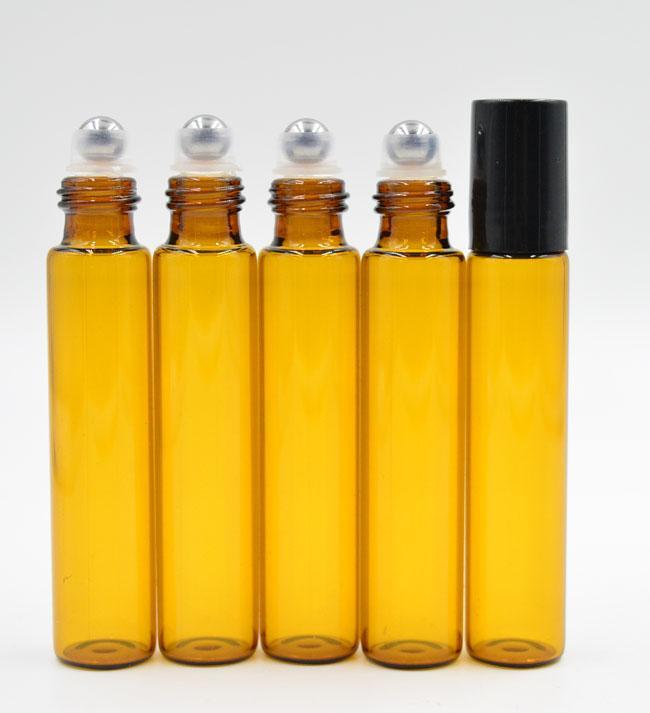 ALL'INGROSSO - 10ml 1 / 3oz ROLL ON BOTTIGLIA IN VETRO AMBRA Profumo marrone Profumo ESSENTIAL OIL acciaio inox Roller ball Aromatherapy Bottle