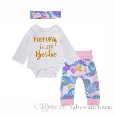 2018 Baby Girls Clothing Set 3Pcs Infant Newborn Baby Gold Letter White Romper Jumpsuit + Flower Pants + Headband Boutique Girls Set Outfits