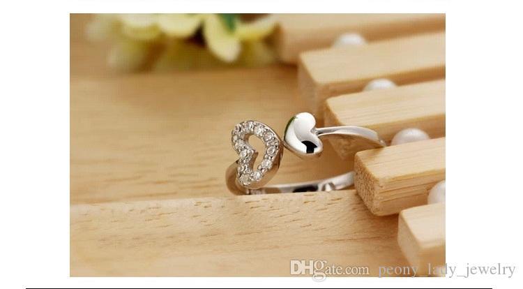Forma do coração de cristal anel anel de jóias de casamento do vintage de coração dupla em forma de borda infinita novos encantos