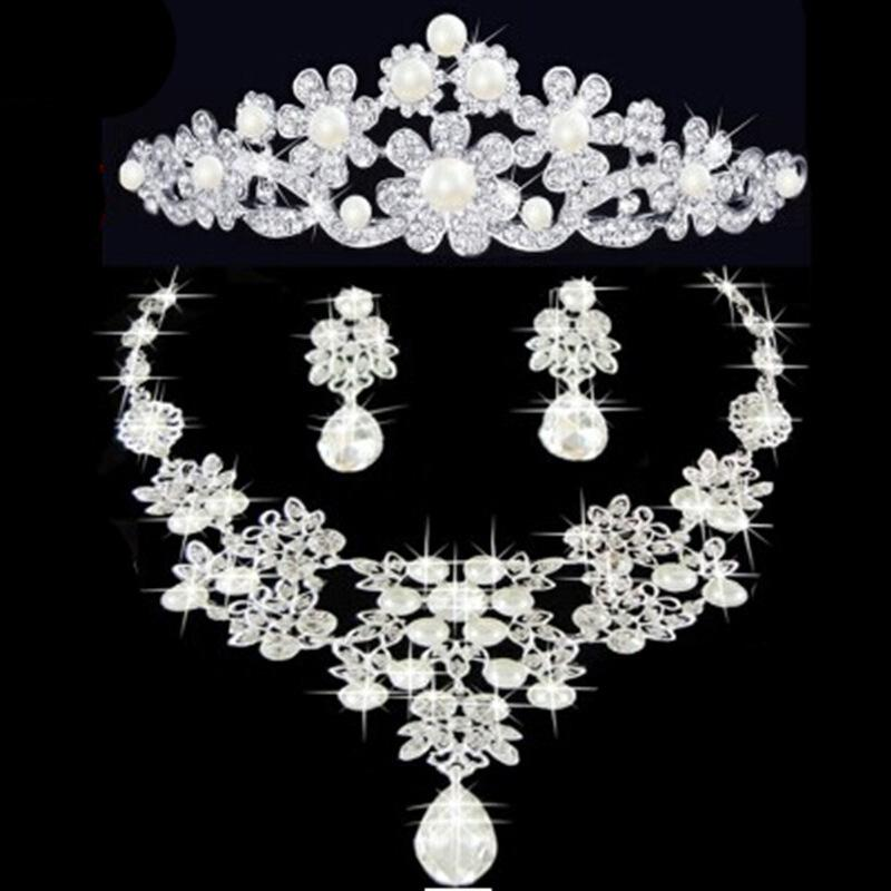 Matching Jewelry Sets Tiaras Necklace And Earrings Stylish Elegant Silver Color Cheap Wedding For