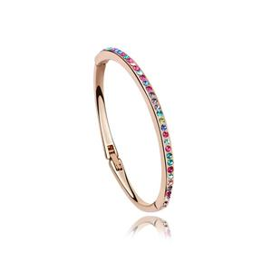 Brazalete de cristal de la pulsera del encanto de las mujeres 18K Oro rosa lleno de joyas de moda 6060