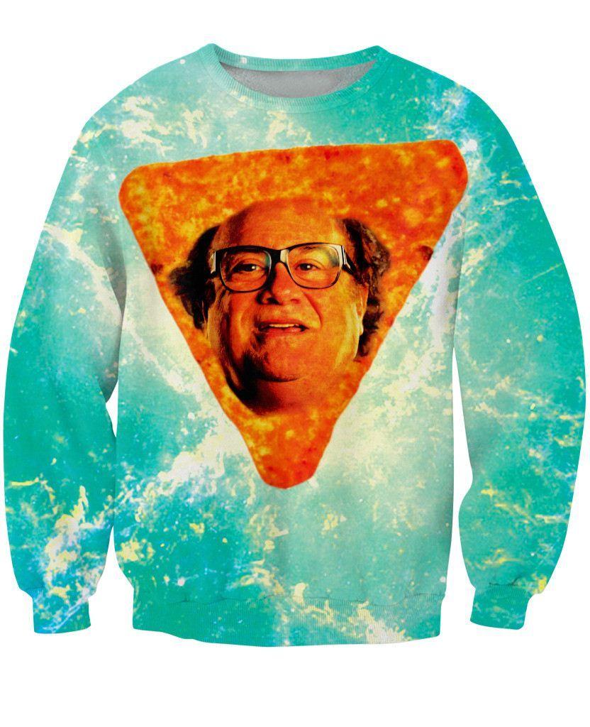 2015 New Arrive Danny Dorito Crewneck Sweatshirt Sexy Sweats Danny DeVito in Nacho Cheese Flavor 3d Jumper For Women Men