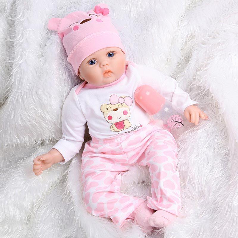 Vente en gros mignon poupée en silicone bébé jouet 55cm Npk Simulation Rebirth bébé poupée silicone souple nouveau-né poupées en plastique Mini Bébés