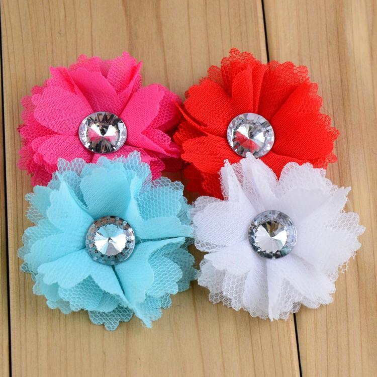Mädchen-Butike-Stirnband-Zusatz-mehrschichtige Chiffon- Blume mit Perlen-Mitte scherzt Hairband Blumen freies Verschiffen 20pcs / Lot Th61