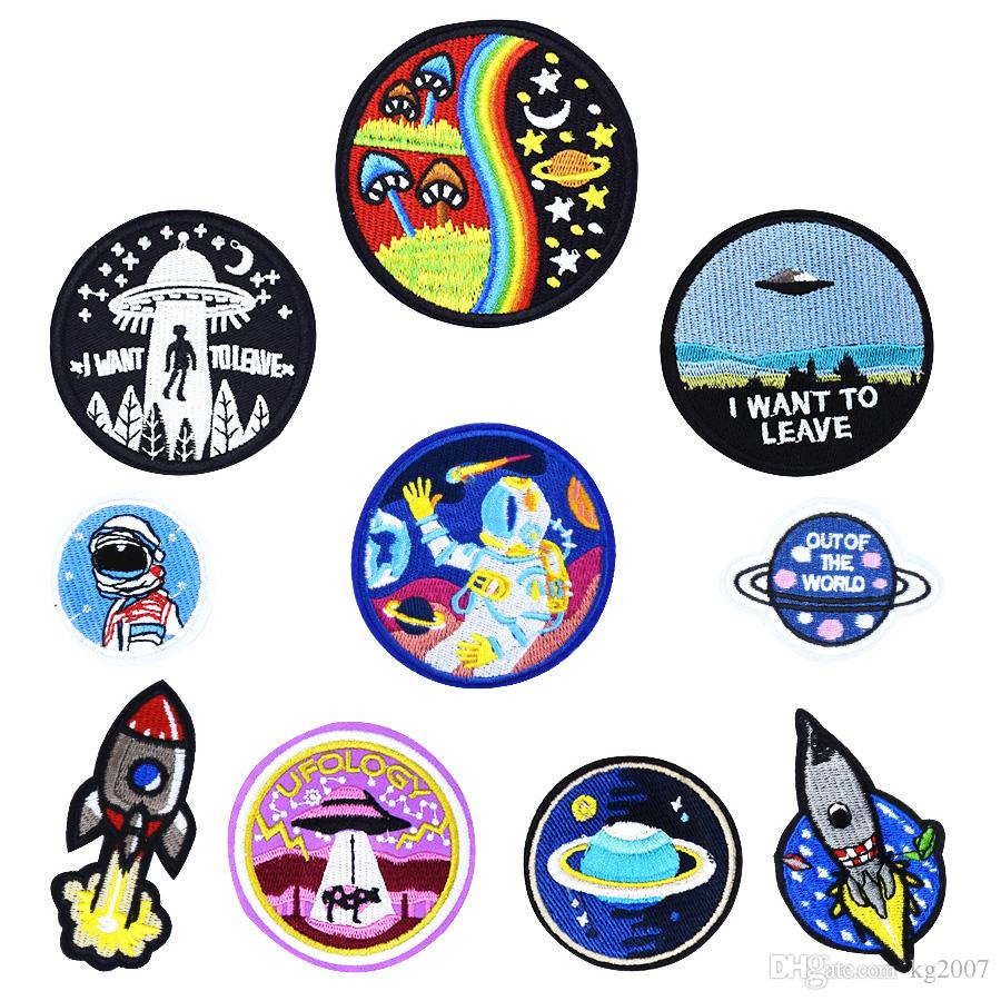 10 PCS Universe Sew Embroidered Patches for Clothing Iron on Transfer Applique Space Patch for Jacket Bags DIY Sew on Embroidery Kids Patch
