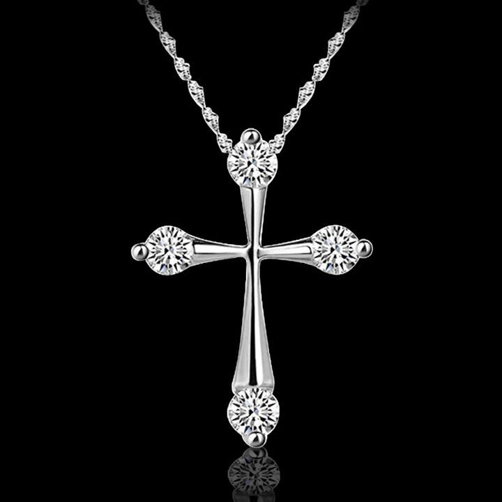 Cross Pendant Necklaces Hot Sale Silver Chain Necklaces Crystal Pendants For Women Girl Party Gift Fashion Jewelry Wholesale - 0010LDN