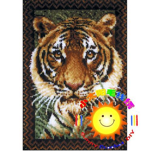 DIY Unfinished Crocheting Yarn Mat Latch Hook Rug Kit Floor Mat Big Tiger Picture Carpet Set Size: 85cmx65cm