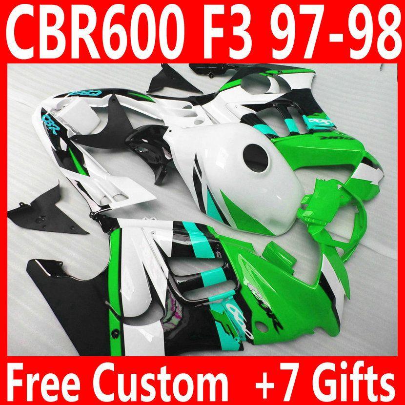 Обтекатели высочайшего качества для HONDA CBR600 F3 1997 1998 зеленый черный белый кузов CBR 600 97 98 комплект обтекателей QY88