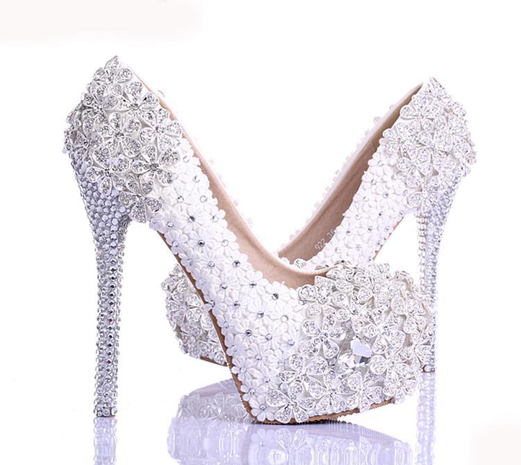 Bahar Beyaz Dantel Çiçek Rhinestone Düğün Ayakkabı Yeni Tasarım Lüks El Yapımı Yüksek Topuk Gelin Ayakkabıları Akşam Balo Ücretsiz Nakliye Pompalar