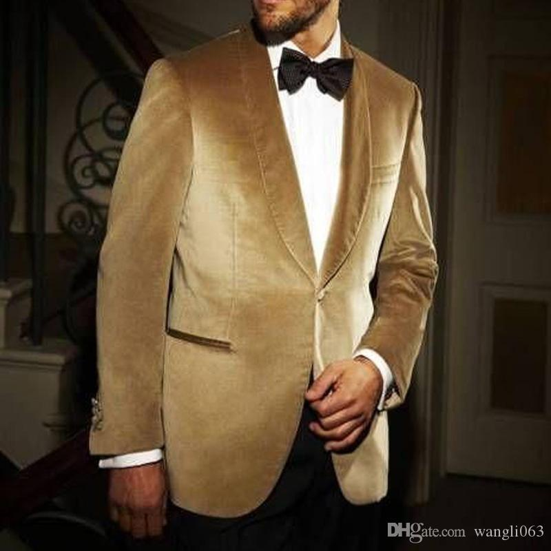 Gold Velvet Business Men Suits 2018 Shawl Lapel One Button Black Pants  Custom Made Wedding Groom Tuxedos Jacket + Pants Dress For Mens Formal  Formal
