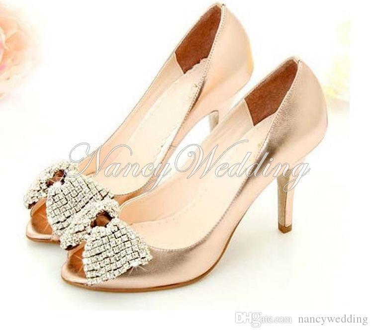 Najnowsze kobiety Wygodne złoto błyszczące błyszczące owczarek Rhinestone Buty ślubne Buty ślubne Letnie buty Wielkość UE (34-43)