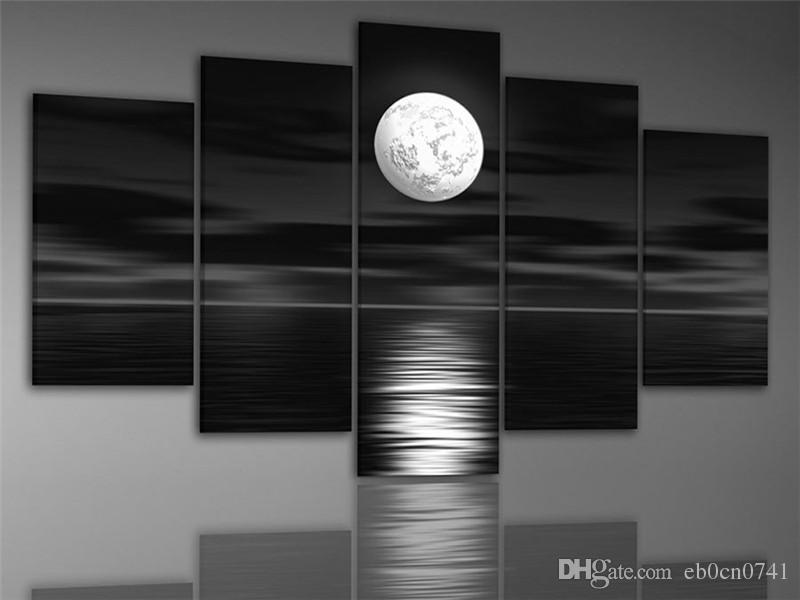 Handgemalte Kunst der dunkle Nacht Meer hellen Mond bereit, Wand Dekor Landschaft Ölgemälde auf Leinwand 5pcs / Set zu hängen