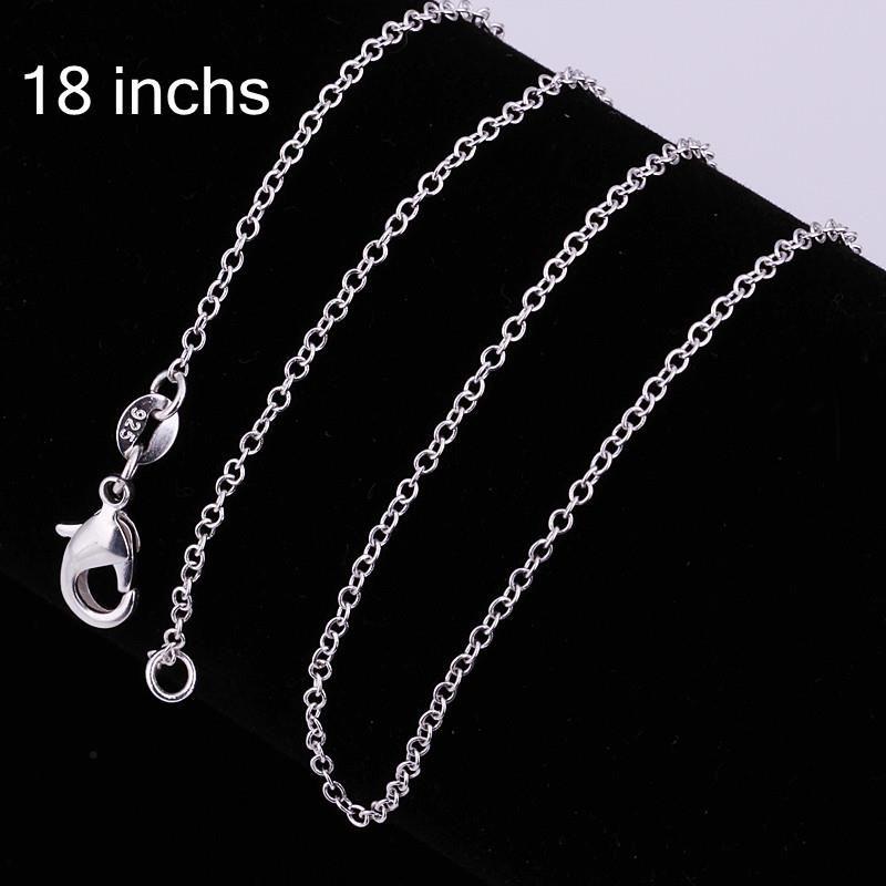 925 Collar de Cadena chapado en Plata de 1mm 18 pulgadas Nueva Joyería de Moda Fit DIY Colgante Encanto / aapairwa