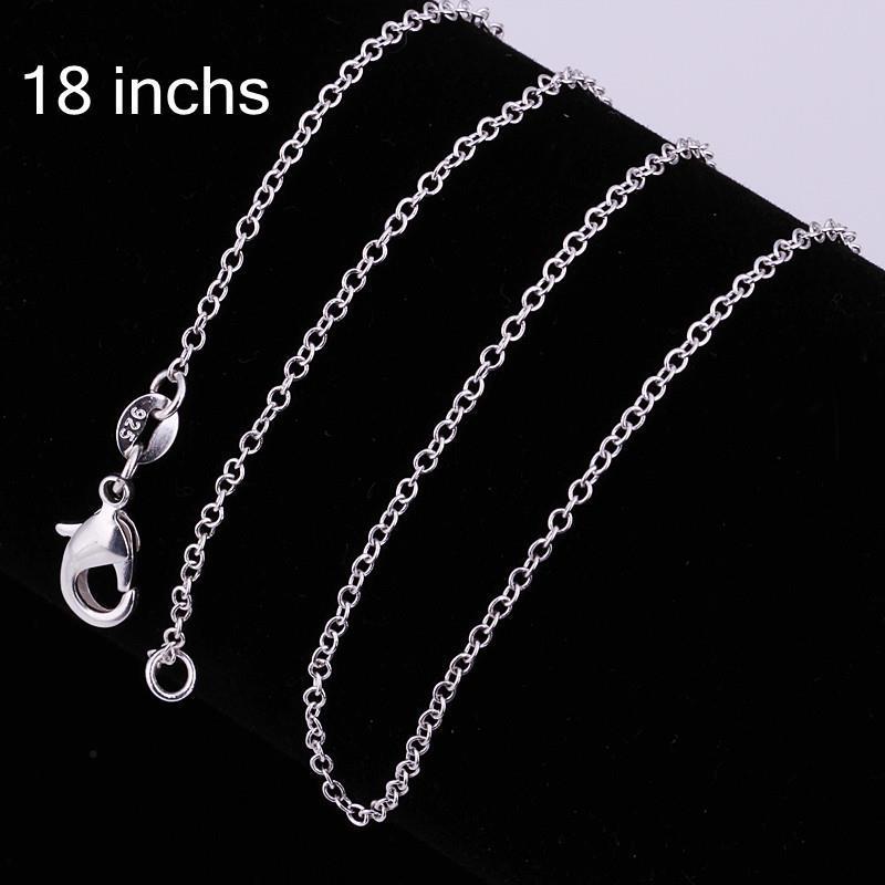 925 посеребренные 1 мм цепи ожерелье 18 дюймов новая мода ювелирные изделия Fit DIY кулон Шарм / aapairwa
