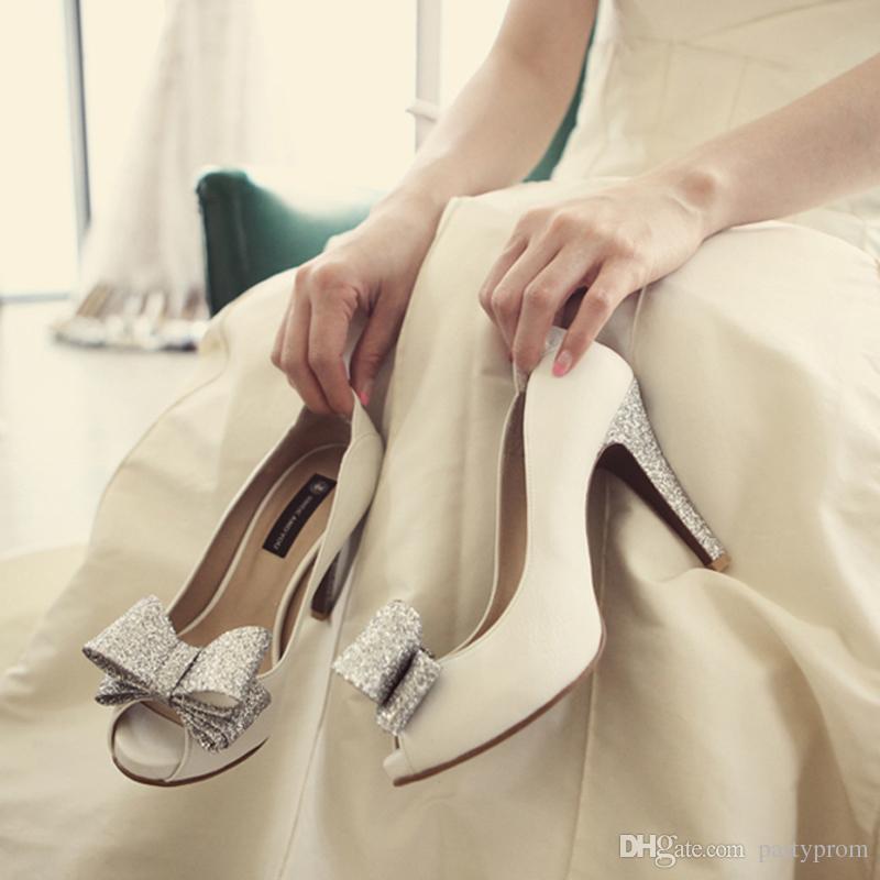 Fashion Free Shipping Woman White Sheepskin Wedding Dress Shoes High-heeled Bridal Shoes Sexy Peep Toe Nightclub Shoes