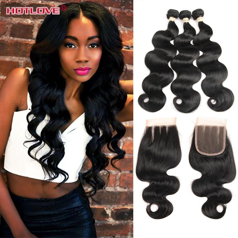 Hotlove Body Wave 3 Bundle Hair with Lace Closure With Baby Hair Brazilian Virgin Unprocessed Human Hair Good Quality