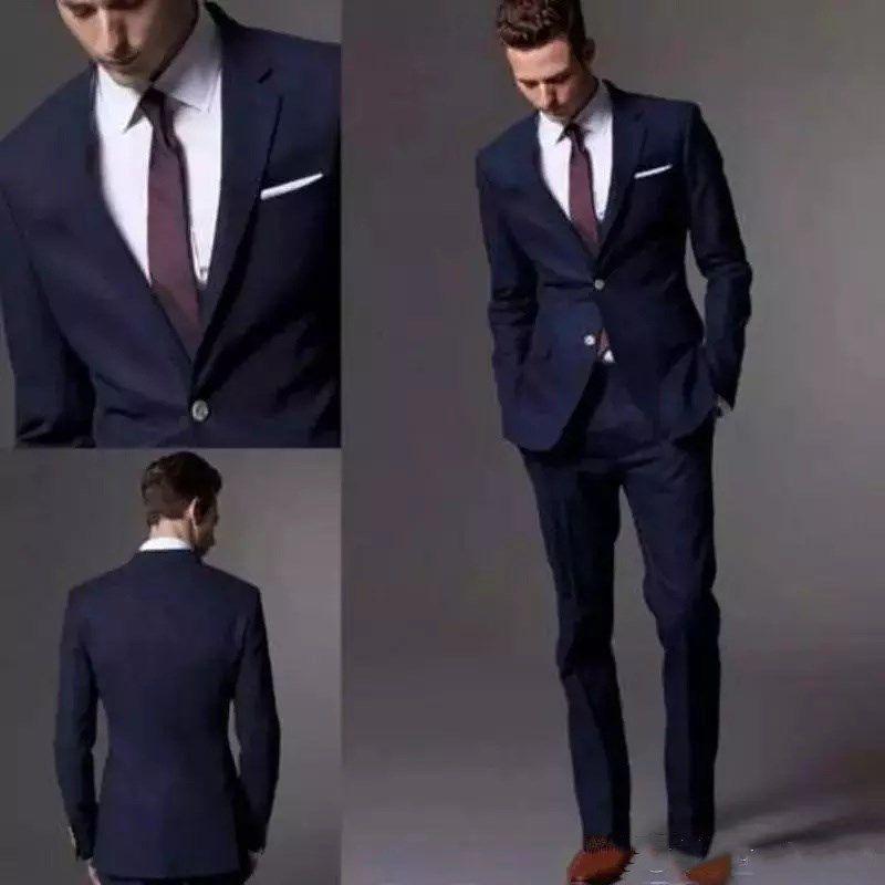 Nach Maß Dark Navy Männer Anzug 2018 Mode Bräutigam Anzug Hochzeit Anzüge Für Männer Slim Fit Bräutigam Smoking Für Mann (Jacke + Pants)