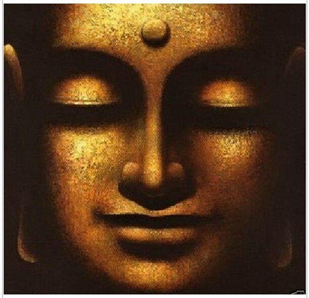 Handmade da arte da parede de decoração para casa Solene Buda Oil Painting Zen Face No Framed