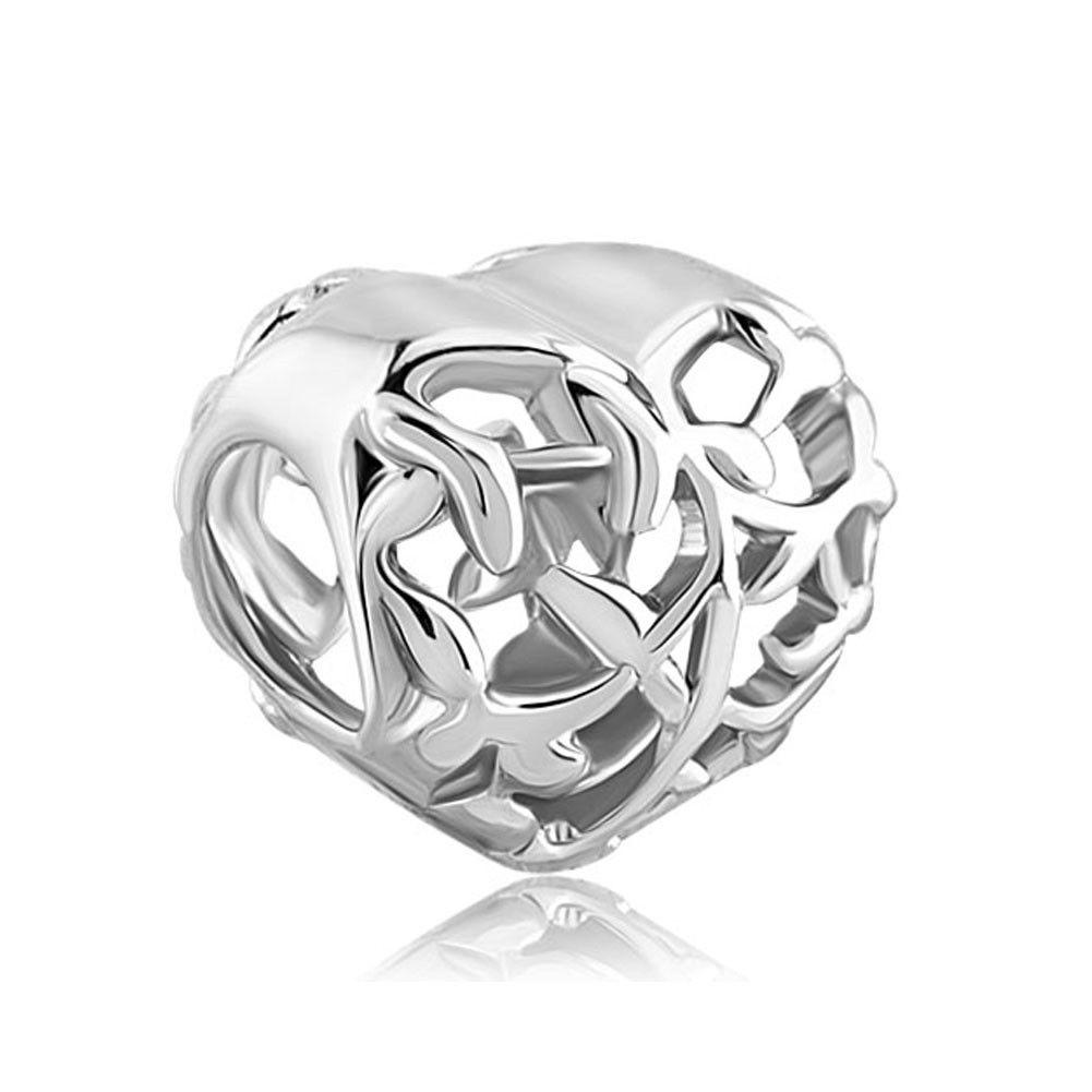 Metal Slider Spacer Large Hole Wholesale Family Tree Heart Love European Bead Fit Pandora Chamilia Biagi Charm Bracelet