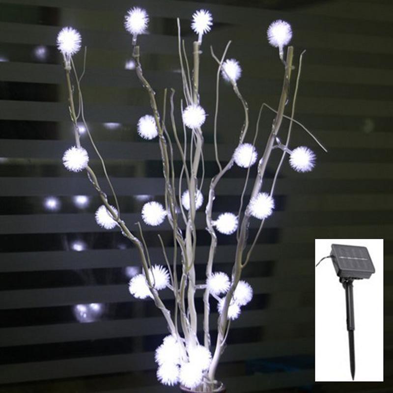 Güneş LED Noel Işık kar topu Ağacı dalları Işık 25 adet Maomao topu Led 50 cm Yükseklik Yağmur Geçirmez Açık