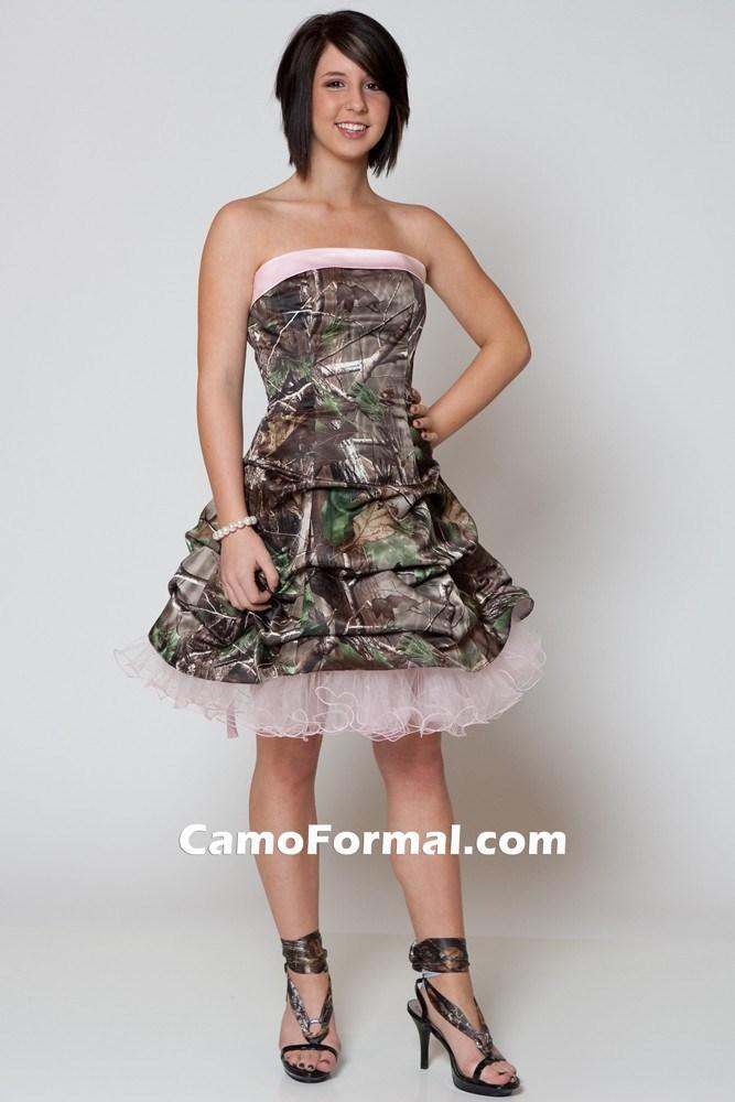 Pink Short Camouflage Wedding Dresses 2015 with Ruffles Strapless Above Knee Camo Bridal Gowns Custom Made Lace-up Back Tiers Bride Dress