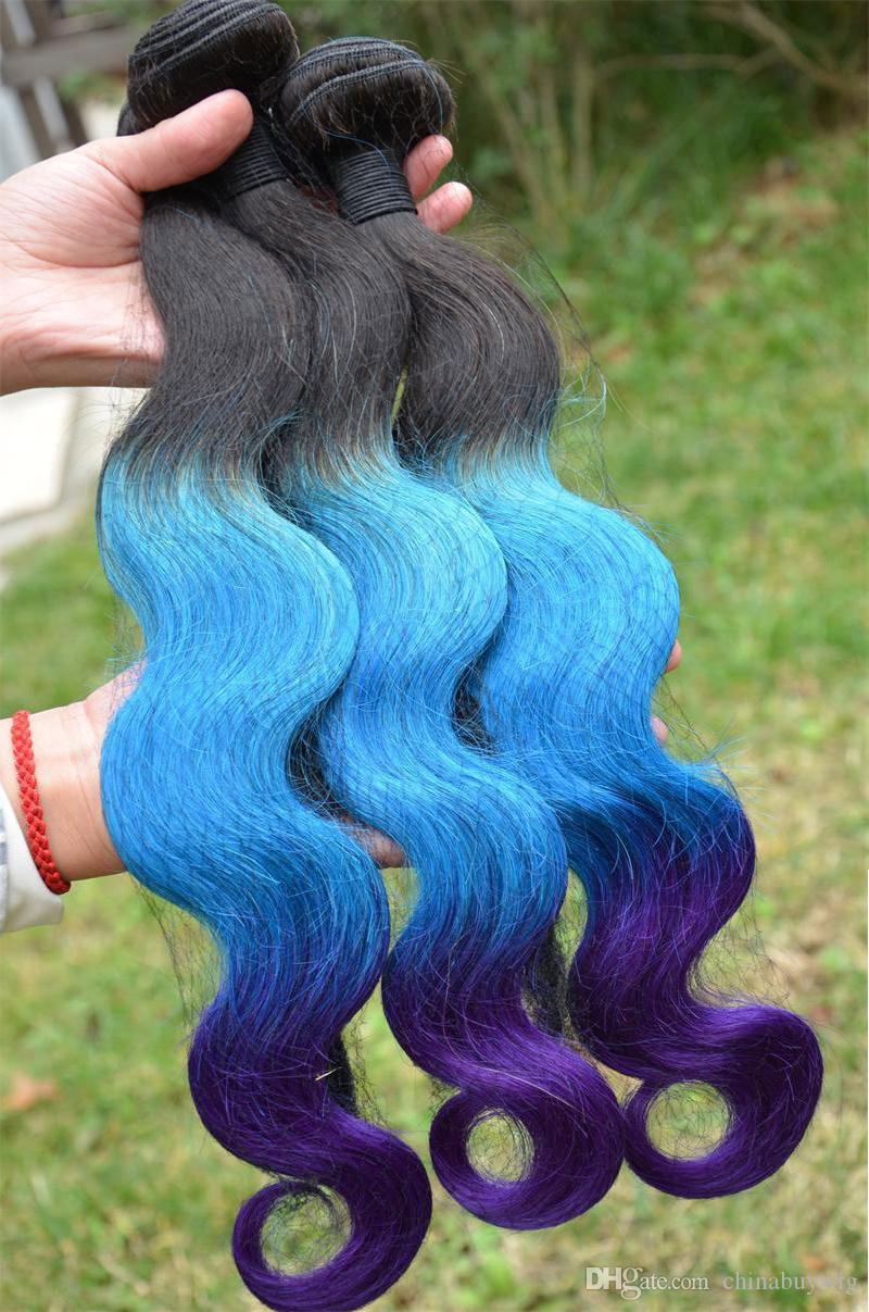 Ombre Brazilian Hair Weaves Extensions Body Wave T1b Blue Purple